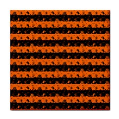 Dark Pumpkin Orange And Black Halloween Nightmare Stripes  Tile Coasters by PodArtist