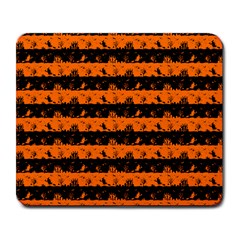 Dark Pumpkin Orange And Black Halloween Nightmare Stripes  Large Mousepads by PodArtist