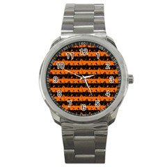 Dark Pumpkin Orange And Black Halloween Nightmare Stripes  Sport Metal Watch by PodArtist