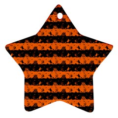 Dark Pumpkin Orange And Black Halloween Nightmare Stripes  Star Ornament (two Sides) by PodArtist