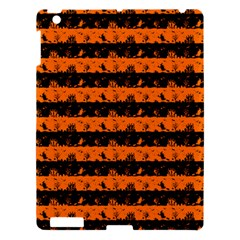 Dark Pumpkin Orange And Black Halloween Nightmare Stripes  Apple Ipad 3/4 Hardshell Case by PodArtist