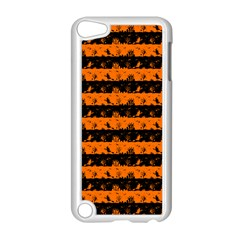Dark Pumpkin Orange And Black Halloween Nightmare Stripes  Apple Ipod Touch 5 Case (white) by PodArtist