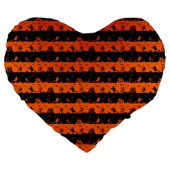 Dark Pumpkin Orange And Black Halloween Nightmare Stripes  Large 19  Premium Heart Shape Cushions by PodArtist