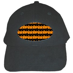 Pale Pumpkin Orange And Black Halloween Nightmare Stripes  Black Cap by PodArtist