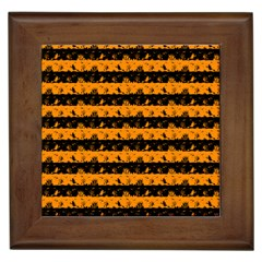 Pale Pumpkin Orange And Black Halloween Nightmare Stripes  Framed Tiles by PodArtist