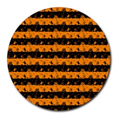 Pale Pumpkin Orange And Black Halloween Nightmare Stripes  Round Mousepads by PodArtist