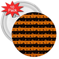 Pale Pumpkin Orange And Black Halloween Nightmare Stripes  3  Buttons (10 Pack)  by PodArtist