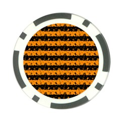Pale Pumpkin Orange And Black Halloween Nightmare Stripes  Poker Chip Card Guard (10 Pack) by PodArtist