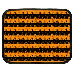 Pale Pumpkin Orange And Black Halloween Nightmare Stripes  Netbook Case (xl) by PodArtist