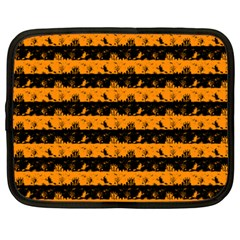 Pale Pumpkin Orange And Black Halloween Nightmare Stripes  Netbook Case (xxl) by PodArtist