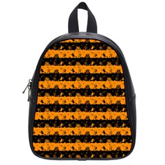 Pale Pumpkin Orange And Black Halloween Nightmare Stripes  School Bag (small) by PodArtist