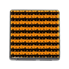 Pale Pumpkin Orange And Black Halloween Nightmare Stripes  Memory Card Reader (square 5 Slot) by PodArtist