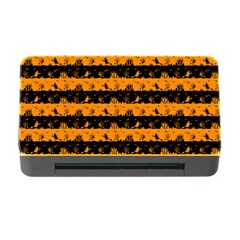 Pale Pumpkin Orange And Black Halloween Nightmare Stripes  Memory Card Reader With Cf by PodArtist