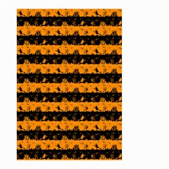 Pale Pumpkin Orange And Black Halloween Nightmare Stripes  Small Garden Flag (two Sides) by PodArtist