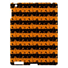 Pale Pumpkin Orange And Black Halloween Nightmare Stripes  Apple Ipad 3/4 Hardshell Case by PodArtist