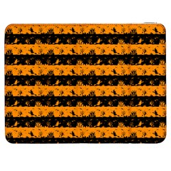 Pale Pumpkin Orange And Black Halloween Nightmare Stripes  Samsung Galaxy Tab 7  P1000 Flip Case by PodArtist