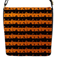 Pale Pumpkin Orange And Black Halloween Nightmare Stripes  Flap Closure Messenger Bag (s) by PodArtist