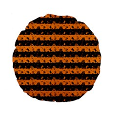 Pale Pumpkin Orange And Black Halloween Nightmare Stripes  Standard 15  Premium Flano Round Cushions by PodArtist