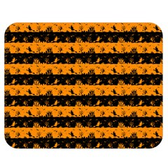Pale Pumpkin Orange And Black Halloween Nightmare Stripes  Double Sided Flano Blanket (medium)  by PodArtist