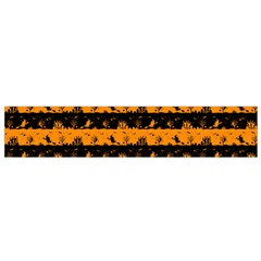 Pale Pumpkin Orange And Black Halloween Nightmare Stripes  Small Flano Scarf by PodArtist