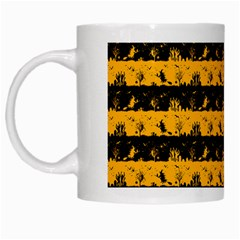 Pale Pumpkin Orange And Black Halloween Nightmare Stripes  White Mugs by PodArtist