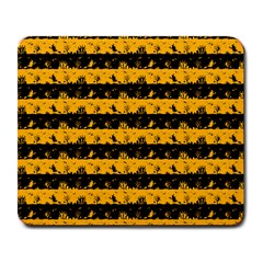 Pale Pumpkin Orange And Black Halloween Nightmare Stripes  Large Mousepads by PodArtist