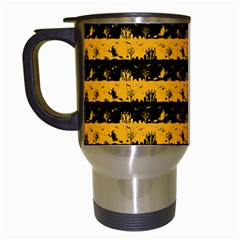 Pale Pumpkin Orange And Black Halloween Nightmare Stripes  Travel Mugs (white) by PodArtist