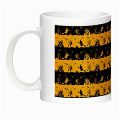 Pale Pumpkin Orange And Black Halloween Nightmare Stripes  Night Luminous Mugs by PodArtist