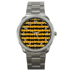 Pale Pumpkin Orange And Black Halloween Nightmare Stripes  Sport Metal Watch by PodArtist