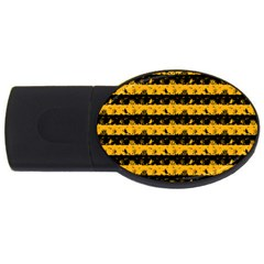 Pale Pumpkin Orange And Black Halloween Nightmare Stripes  Usb Flash Drive Oval (4 Gb) by PodArtist