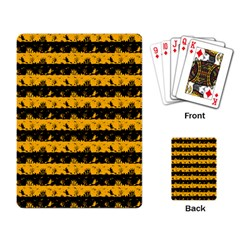 Pale Pumpkin Orange And Black Halloween Nightmare Stripes  Playing Cards Single Design by PodArtist