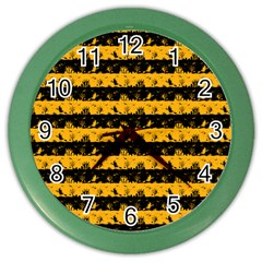 Pale Pumpkin Orange And Black Halloween Nightmare Stripes  Color Wall Clock by PodArtist