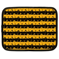 Pale Pumpkin Orange And Black Halloween Nightmare Stripes  Netbook Case (large) by PodArtist