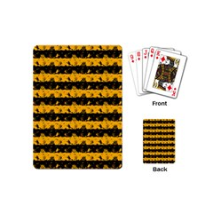 Pale Pumpkin Orange And Black Halloween Nightmare Stripes  Playing Cards (mini) by PodArtist