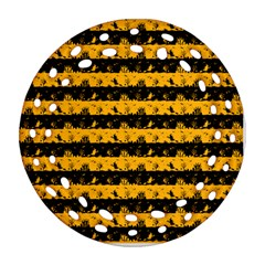 Pale Pumpkin Orange And Black Halloween Nightmare Stripes  Round Filigree Ornament (two Sides) by PodArtist