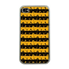 Pale Pumpkin Orange And Black Halloween Nightmare Stripes  Apple Iphone 4 Case (clear) by PodArtist