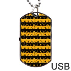 Pale Pumpkin Orange And Black Halloween Nightmare Stripes  Dog Tag Usb Flash (two Sides) by PodArtist