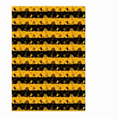 Pale Pumpkin Orange And Black Halloween Nightmare Stripes  Large Garden Flag (two Sides) by PodArtist