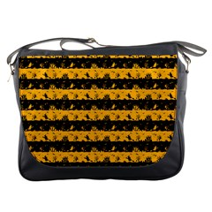 Pale Pumpkin Orange And Black Halloween Nightmare Stripes  Messenger Bag by PodArtist
