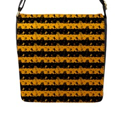 Pale Pumpkin Orange And Black Halloween Nightmare Stripes  Flap Closure Messenger Bag (l) by PodArtist