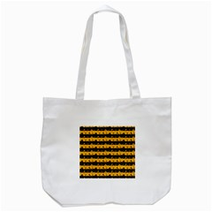 Pale Pumpkin Orange And Black Halloween Nightmare Stripes  Tote Bag (white) by PodArtist