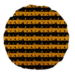 Pale Pumpkin Orange And Black Halloween Nightmare Stripes  Large 18  Premium Flano Round Cushions