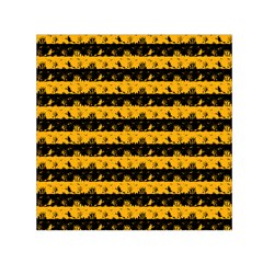 Pale Pumpkin Orange And Black Halloween Nightmare Stripes  Small Satin Scarf (square) by PodArtist