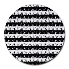 Black And White Halloween Nightmare Stripes Round Mousepads by PodArtist