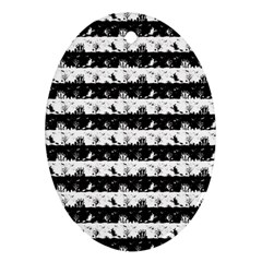 Black And White Halloween Nightmare Stripes Ornament (oval) by PodArtist