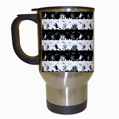 Black And White Halloween Nightmare Stripes Travel Mugs (white) by PodArtist