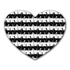 Black And White Halloween Nightmare Stripes Heart Mousepads by PodArtist