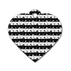 Black And White Halloween Nightmare Stripes Dog Tag Heart (one Side) by PodArtist