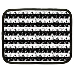 Black And White Halloween Nightmare Stripes Netbook Case (large) by PodArtist