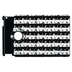 Black And White Halloween Nightmare Stripes Apple Ipad 3/4 Flip 360 Case by PodArtist